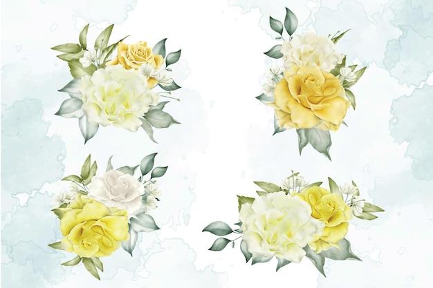 水彩花と葉の配置テンプレートコレクション