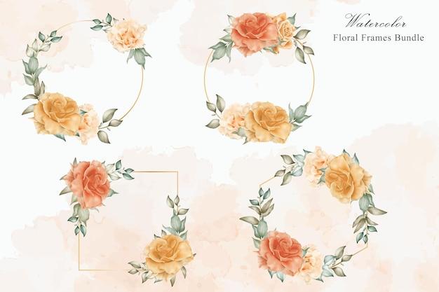 수채화 꽃과 잎 배열 템플릿 컬렉션