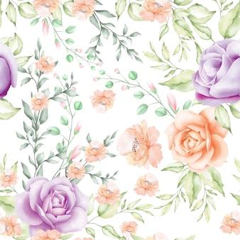 水彩花柄と葉のシームレスパターン