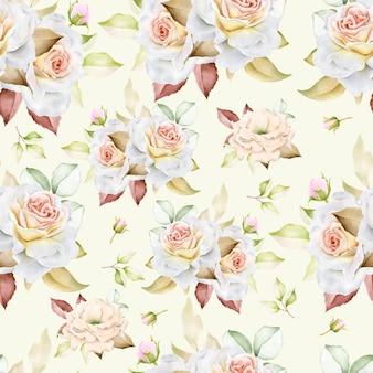 水彩花柄とシームレスなパターンを残します