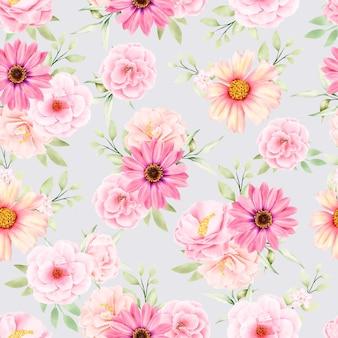수채화 꽃과 잎 원활한 패턴