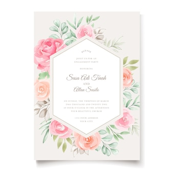水彩花柄と葉のウェディングカードのデザイン