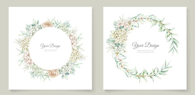 水彩花と葉の結婚式の招待カードセット