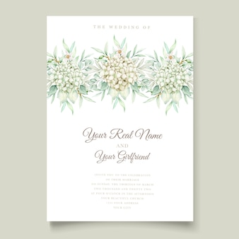 Акварель цветочные и листья свадебные приглашения набор карт