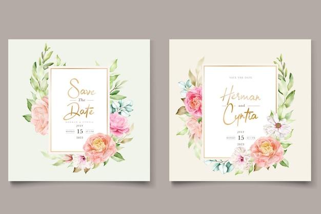 水彩花柄と葉の結婚式の招待カードセット
