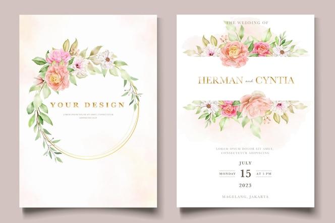 수채화 꽃과 나뭇잎 결혼식 초대 카드 세트