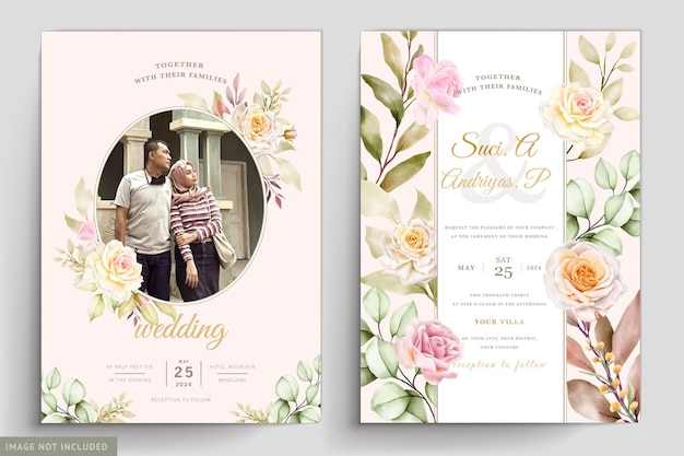 Приглашение на свадьбу с акварельными цветами и листьями