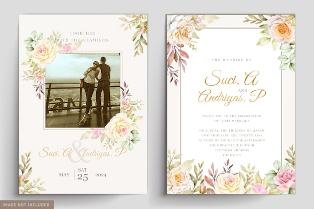 수채화 꽃과 나뭇잎 결혼식 초대 카드