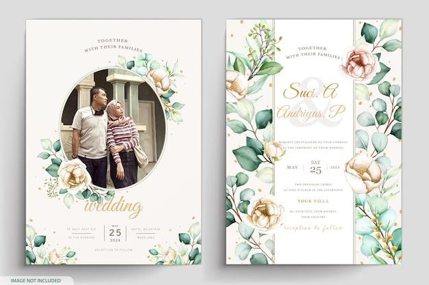 水彩花柄と葉の結婚式の招待カード