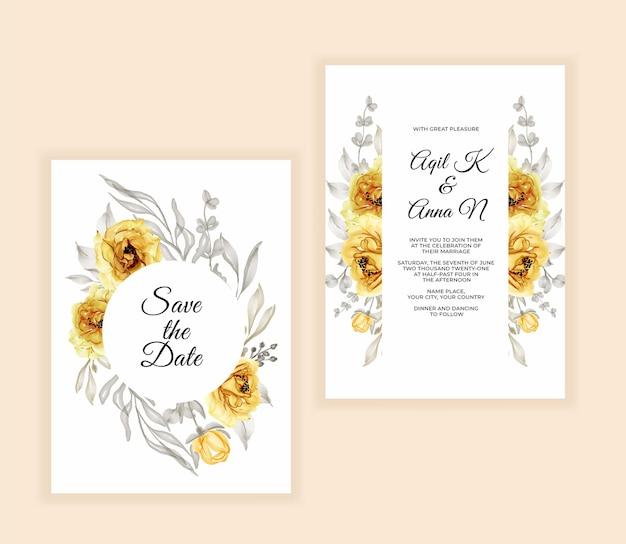 水彩花柄と葉の結婚式の招待状