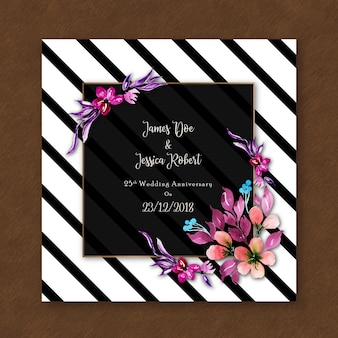 Watercolor floral anniversary invitation card with stripes