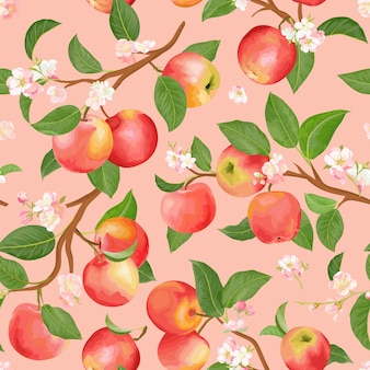 Watercolor floral apple seamless pattern. vector autumn fruits, flowers, leaves texture. summer botanical background, nature wallpaper, boho backdrop fashion textile, fall wrapping paper