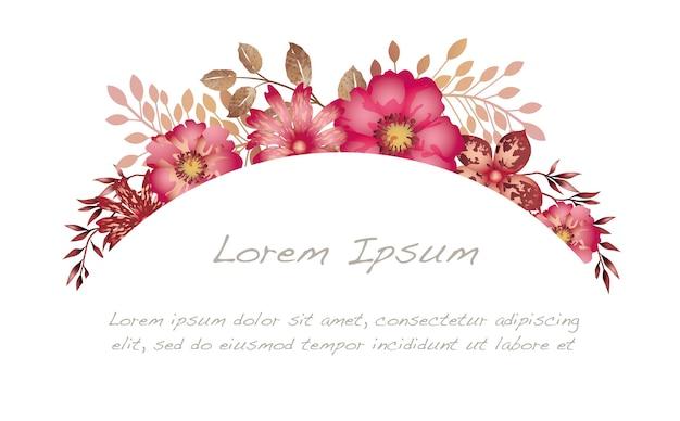 白い背景で隔離の水彩花のアーチの背景。