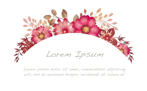 Watercolor floral arch background isolated on white background.