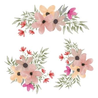 花びらの花と水彩のフラワーアレンジメントコレクション