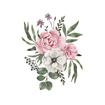 수채화 꽃 배열 구성. 꽃 피는 수채화 나뭇잎과 나뭇 가지