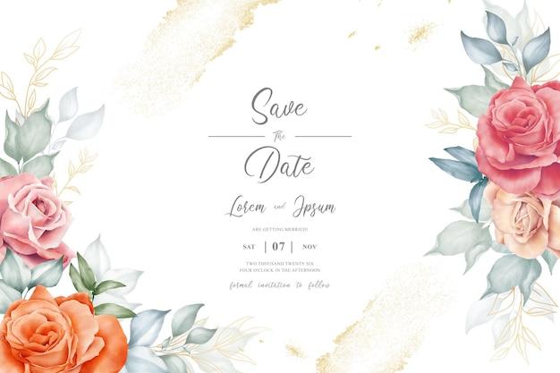 Watercolor floral arrangement design template with minimalist flower arrangement