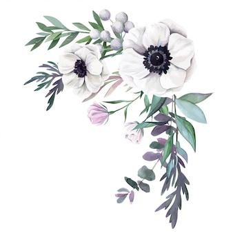 Watercolor floral arrangement, hand drawn v