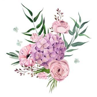 Watercolor floral arrangement, hand drawn
