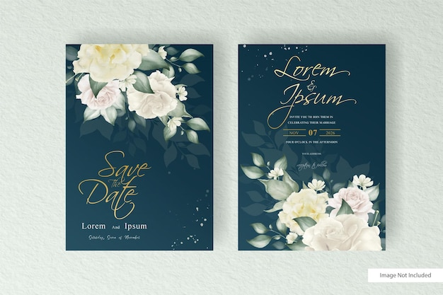 Watercolor floral arrangement wedding card template set with floral and leaves decoration
