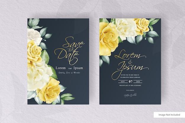 Watercolor floral arrangement wedding invitation template