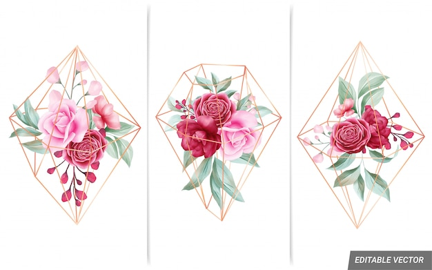 Watercolor floral arrangements with geometric golden diamond shaped for card composition