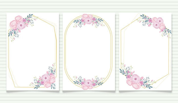 Watercolor floral background banner frame with vintage style for wedding invitation