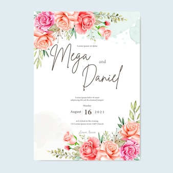Watercolor floral background and frame