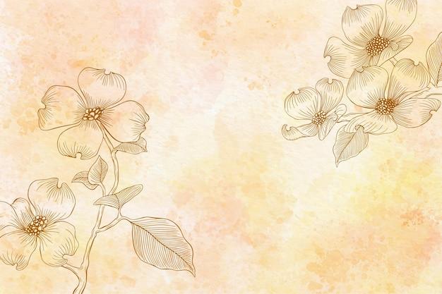 モノクロで水彩花の背景