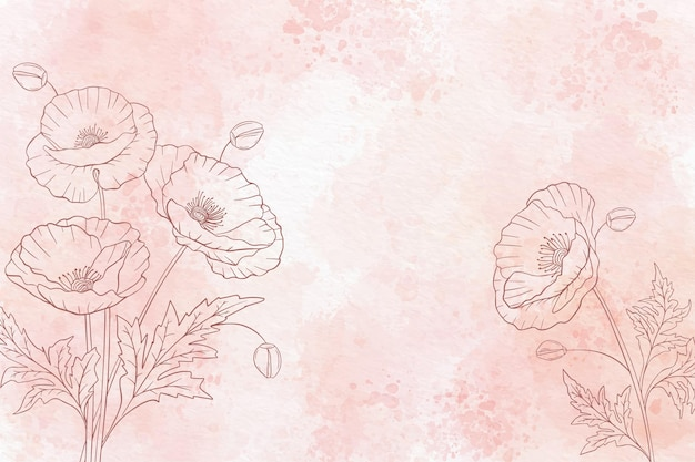Акварель цветочный фон в монохромном режиме