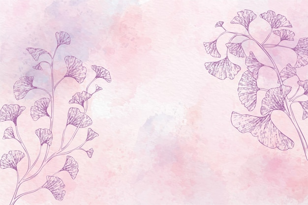 Watercolor floral background in monochrome