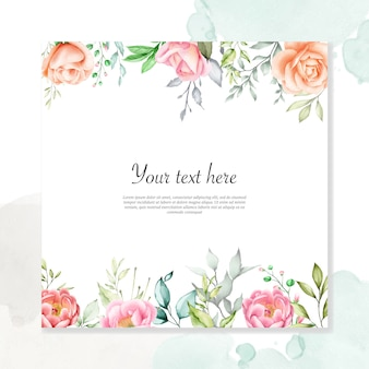Watercolor floral background multi-purpose floral frame