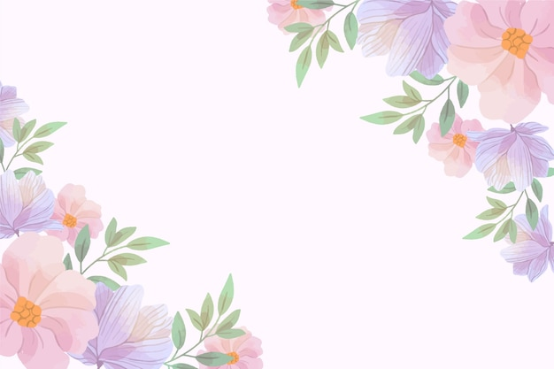 Watercolor floral background in pastel colors with copy space