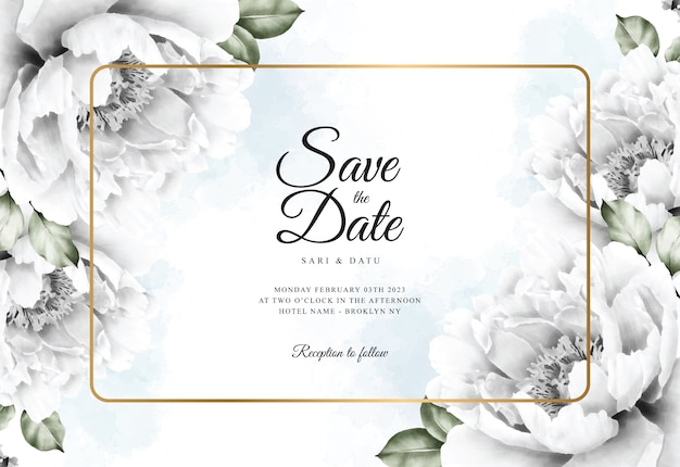 Watercolor floral background for wedding card template