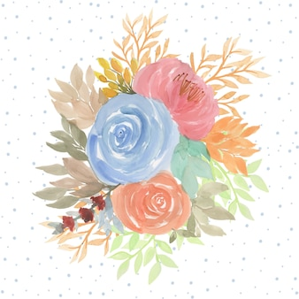 Watercolor floral background with beautiful flowers