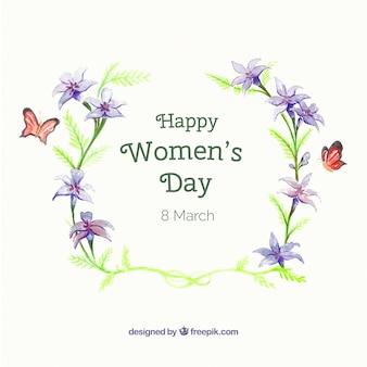 Acquerello sfondo floreale con farfalle per la festa della donna