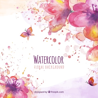 Watercolor floral background with butterflies