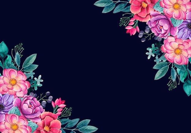 화려한 꽃으로 수채화 꽃 배경입니다.