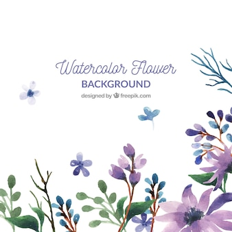 Watercolor floral background with colorful style