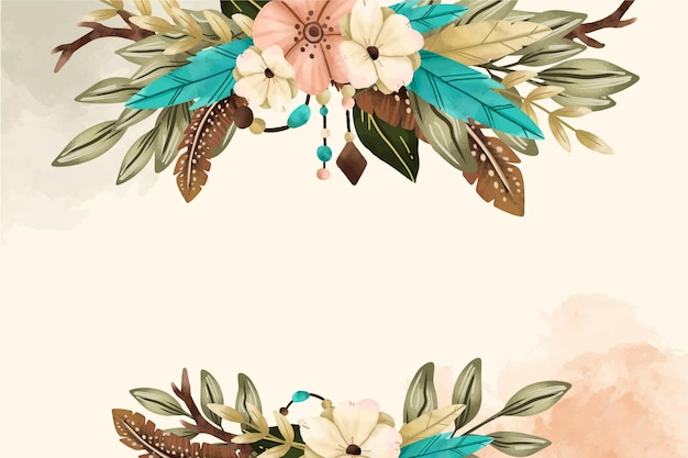 Watercolor floral background with copy space