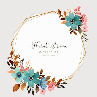Watercolor floral background with geometric gold frame