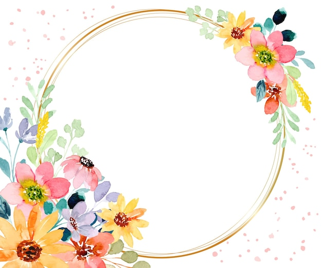 Watercolor floral background with golden circle