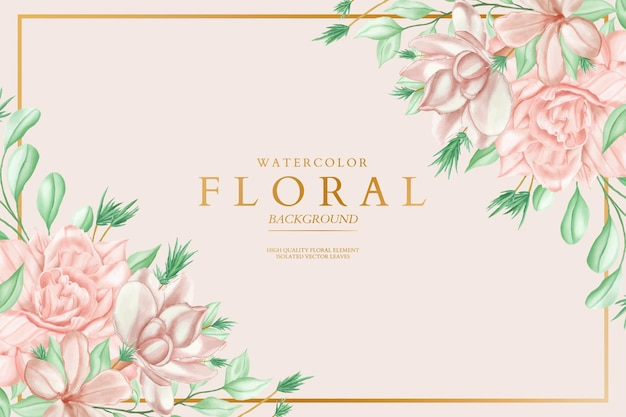Watercolor floral background with golden frame