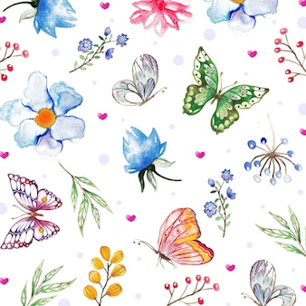 Watercolor floral background with hand painted elements