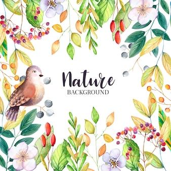 나뭇잎과 새와 수채화 꽃 배경