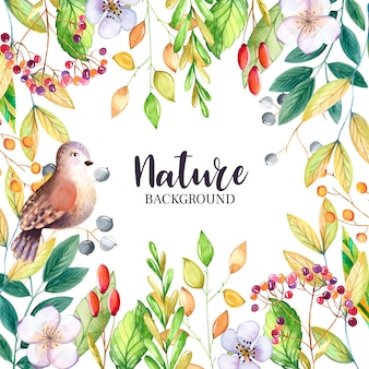 Watercolor floral background with leaves and bird