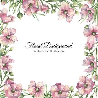 ピンクの繊細な花と水彩花の背景
