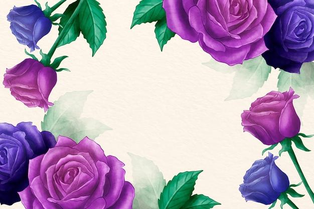 Акварель цветочный фон с розами