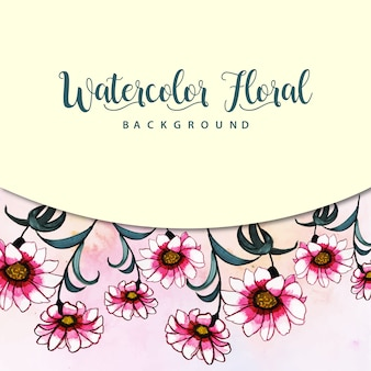 Watercolor floral background with splatter