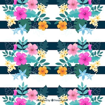 Watercolor floral background with stripes